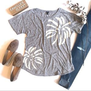 J. Crew Linen Palm Leaf T-Shirt